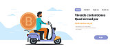 businessman riding scooter with bitcoin money crypto currency virtual mining concept isolated flat horizontal copy space