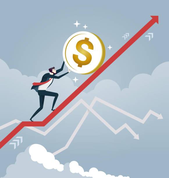 illustrations, cliparts, dessins animés et icônes de homme d'affaires retrousser une pièce de monnaie dollar sur flèche. vecteur de concept d'affaires - inflation