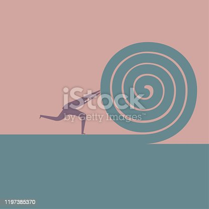 istock Businessman rolled up the carpet. 1197385370