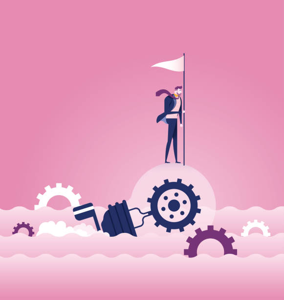 Businessman rowing idea light bulb boat sailing on the ocean - Business concept vector vector art illustration