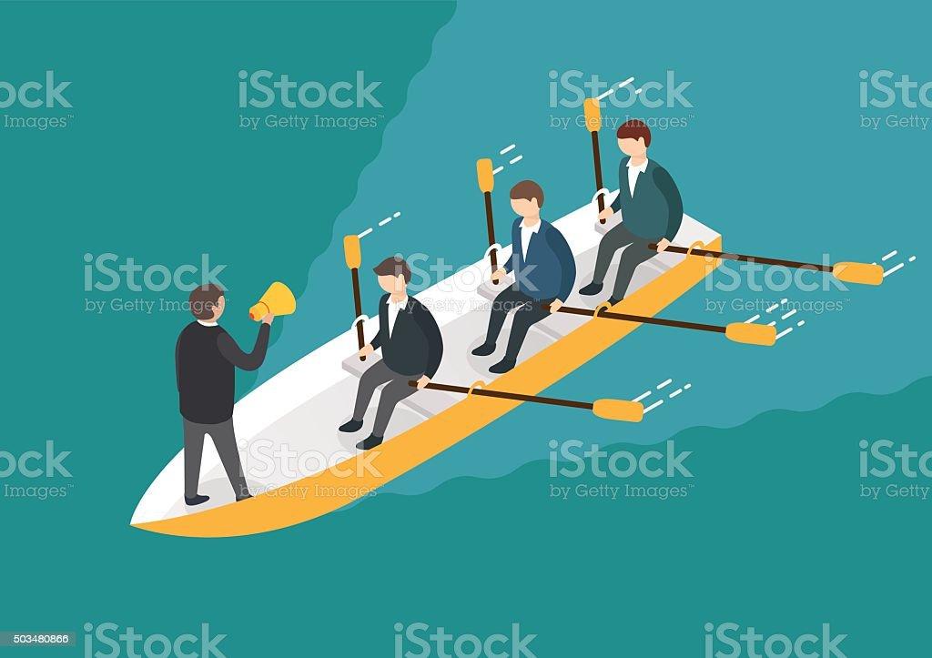 Homme d'affaires et le concept de travail d'équipe d'aviron. Isométrique vecteur 3d - Illustration vectorielle