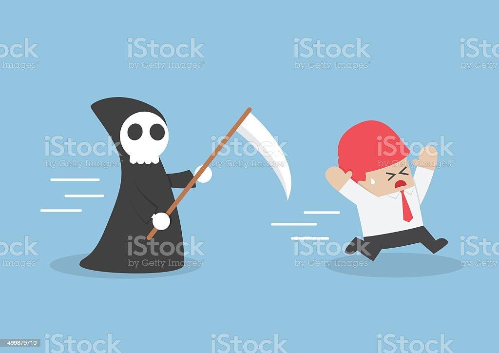 Businessman run away from angel of death vector art illustration