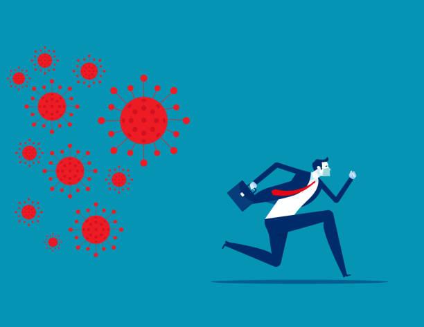 Businessman run away from COVID 19 virus. Implications for business vector art illustration