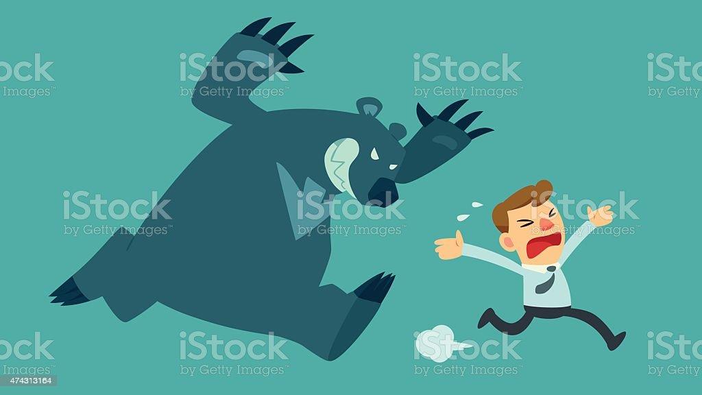 businessman run from bear vector art illustration