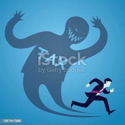 Vector illustration of businessman runaway from tax, haunted shadow concept