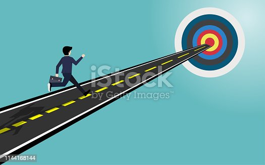 Businessman run on the road to the goal, Target business concept, Illustration vector flat