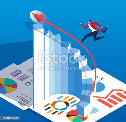 Businessman run up along with rising arrow