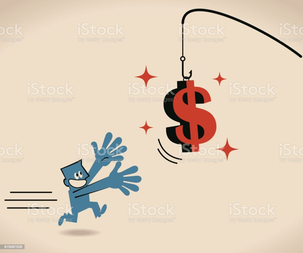 Businessman running after dollar sign bait on fishing rod vector art illustration