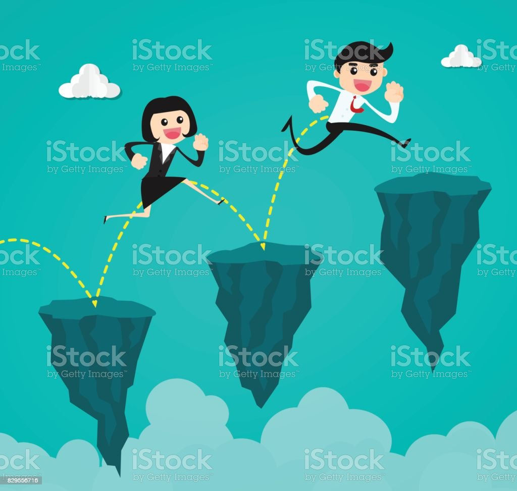 businessman running and jumping through the gap between the cliff.Concept of business risk and success vector art illustration