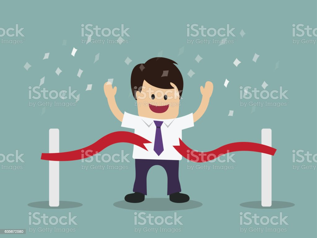 Businessman running at the finish line vector art illustration