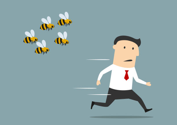 Businessman running away from angry bees Cartoon businessman was attacked by swarm of angry wild bees and running away from dangerous insects. Insect sting allergy danger, healthcare concept design stinging stock illustrations
