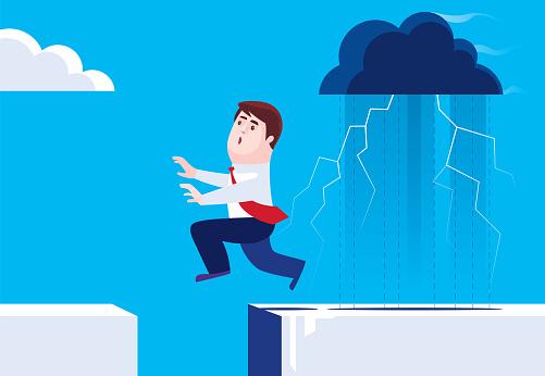 businessman running away from black cloud