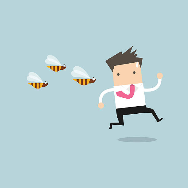 Businessman running away from dangerous insects Businessman running away from dangerous insects vector swarm of insects stock illustrations