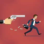 Businessman running away from gunman.