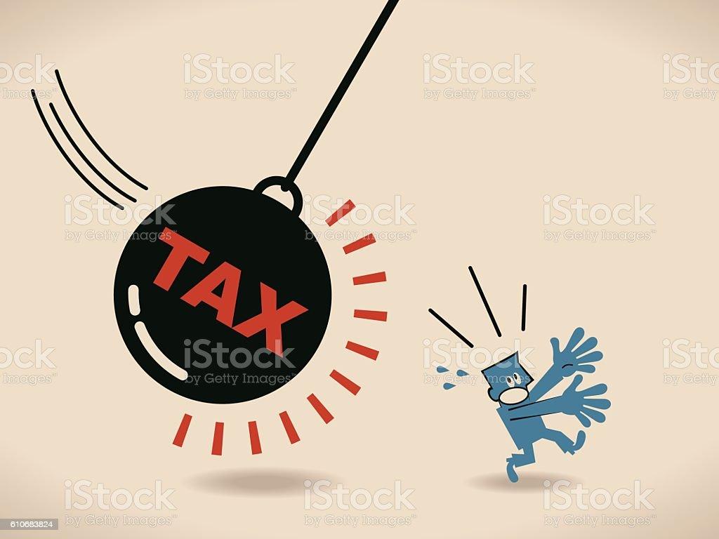 Businessman running away from huge pendulum with message tax vector art illustration