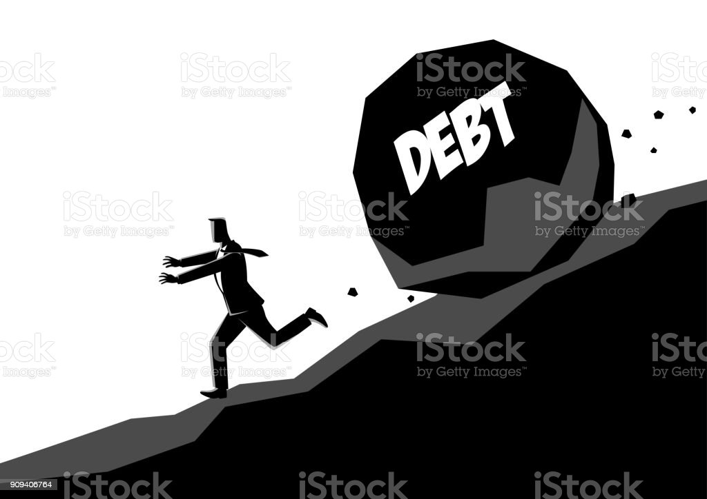 Businessman running away from large stone with message debt vector art illustration