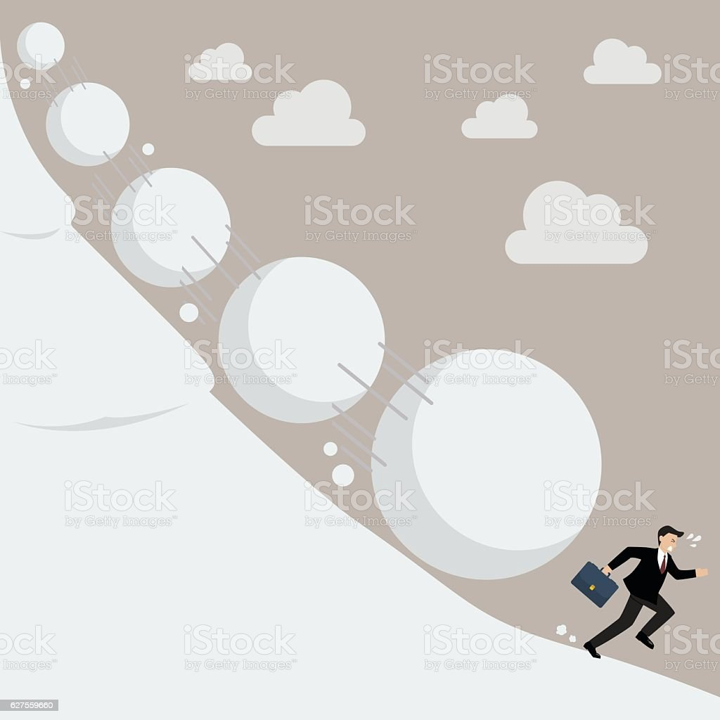 Businessman running away from snowball effect vector art illustration