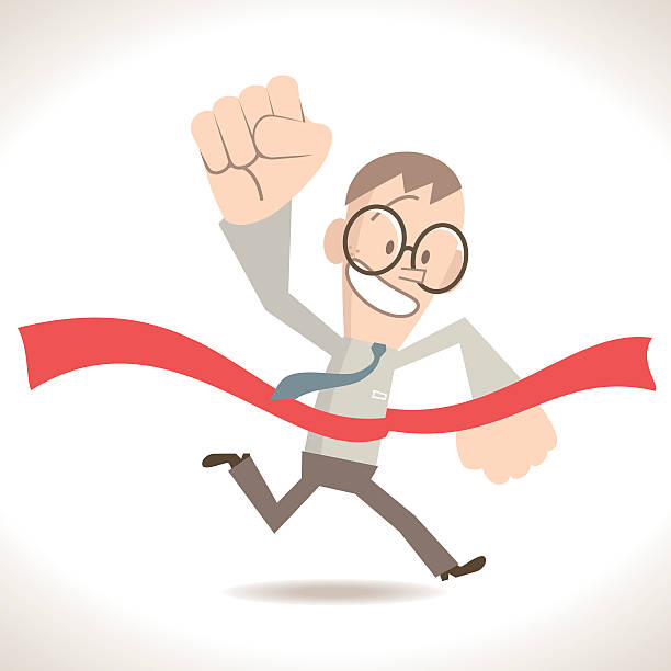 Businessman running crossing the finish line, holding fist in air Characters Full Length Vector art illustration.Copy Space. civil servant stock illustrations
