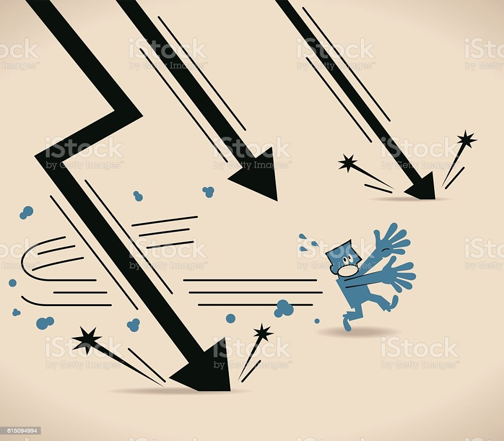 businessman running escape from falling black downfall arrow stock