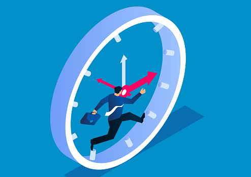 Businessman running fast inside the clock, businessman fighting against time