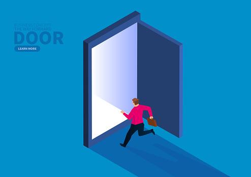 Businessman running in the direction of the door