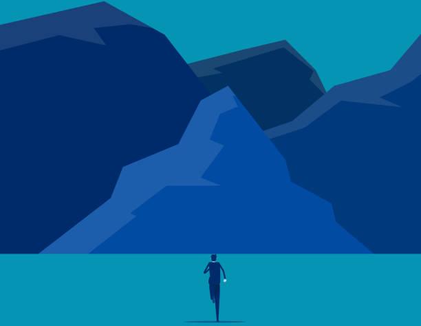 Businessman running into the peak. Flat cartoon style design. vector art illustration