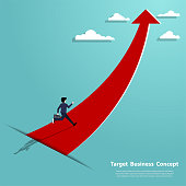 Businessman running on arrow pointing up to the success, Business start up concept, Career, Direction, Economy, Goal, Vector illustration flat