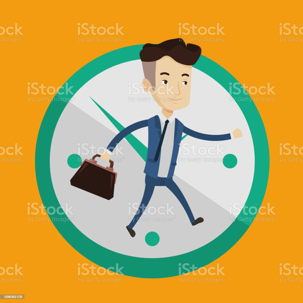Businessman running on clock background. royalty-free businessman running on clock background stock vector art & more images of adult