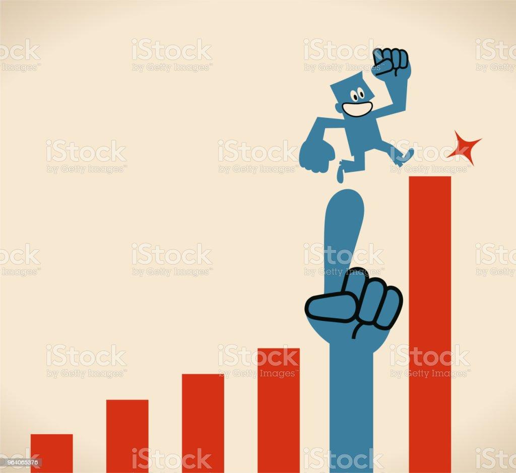 ビジネスマンの大きな救いの手で成長率のグラフ上で実行 - アイデアのロイヤリティフリーベクトルアート
