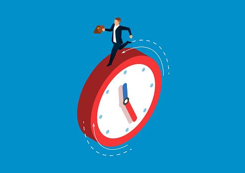 Businessman running on the clock