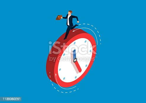 Businessman running on the clock