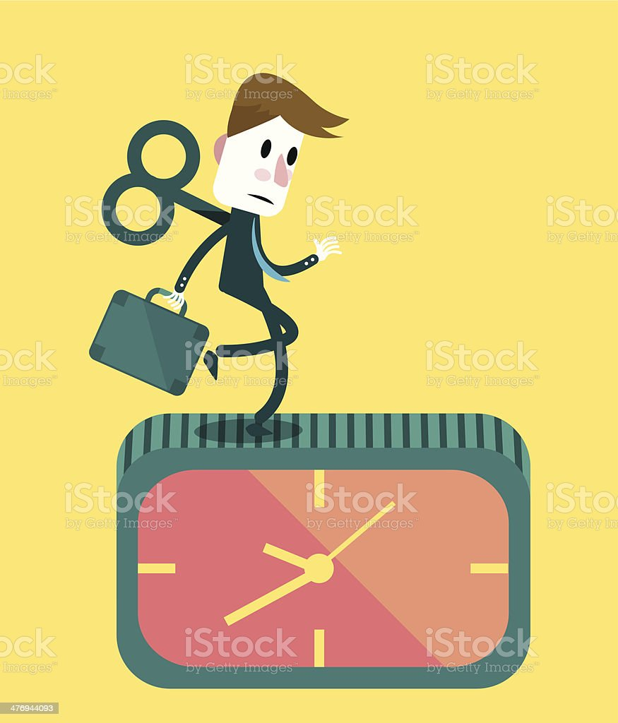 Businessman running on the clock. royalty-free stock vector art