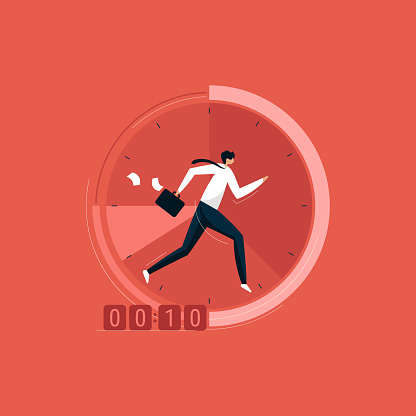 Businessman running on the clock with briefcase, time management