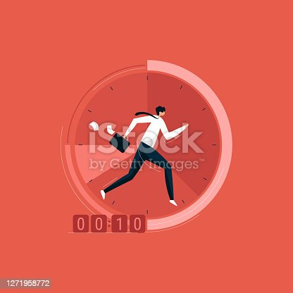 istock Businessman running on the clock with briefcase, time management 1271958772