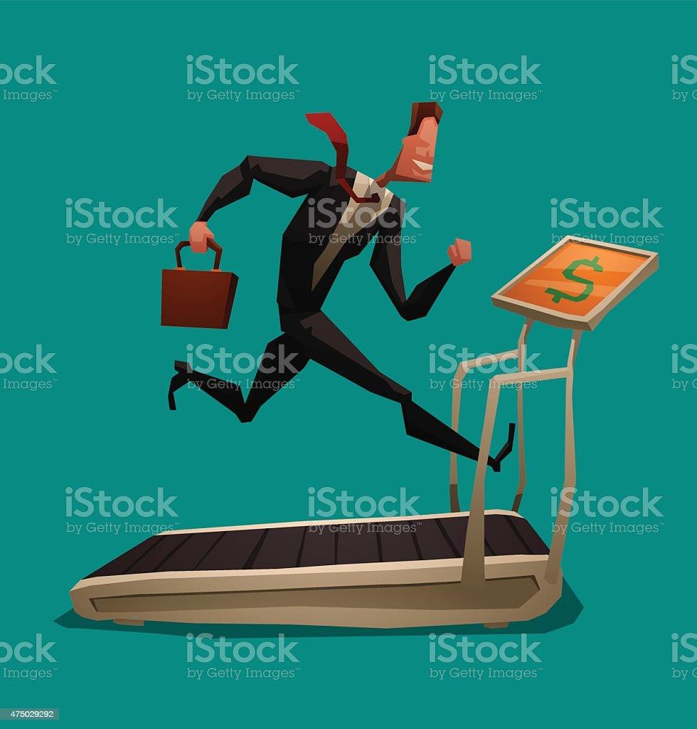 Businessman running on treadmill vector art illustration