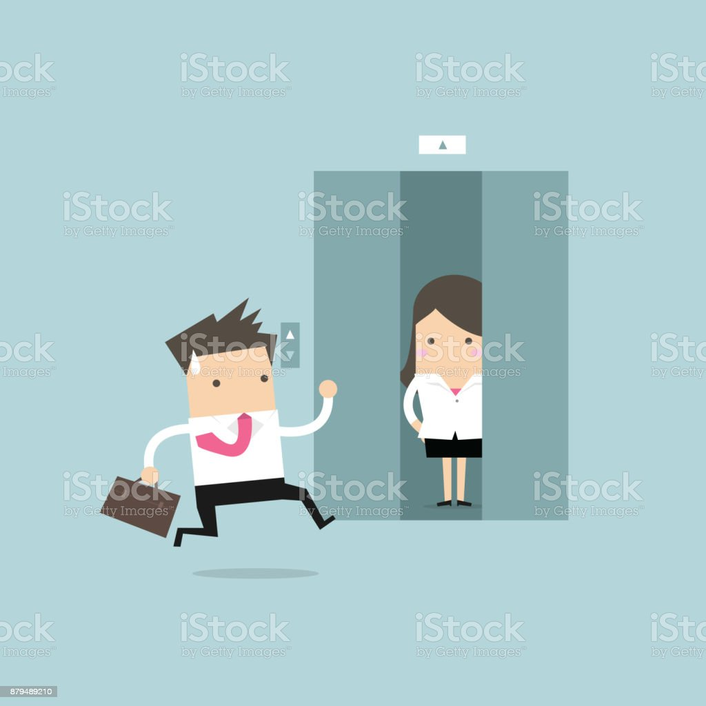 Businessman running to elevator and elevator is closing vector vector art illustration