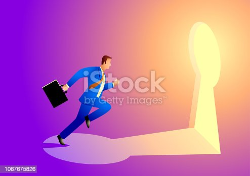 82186105 istock photo Businessman running towards a key hole 1067675826