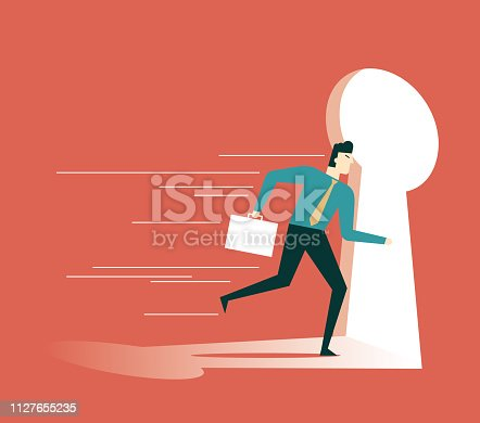 82186105 istock photo businessman running towards a key hole 1127655235
