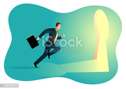 82186105 istock photo Businessman running towards a key hole 1188399923