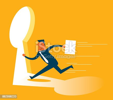 82186105 istock photo businessman running towards a key hole 882998220