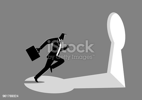 82186105 istock photo Businessman running towards a key hole 961769324