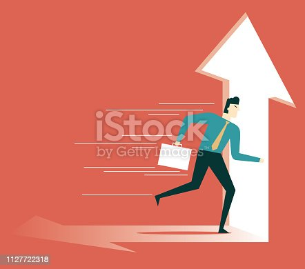 82186105 istock photo businessman running towards arrow shape hole 1127722318