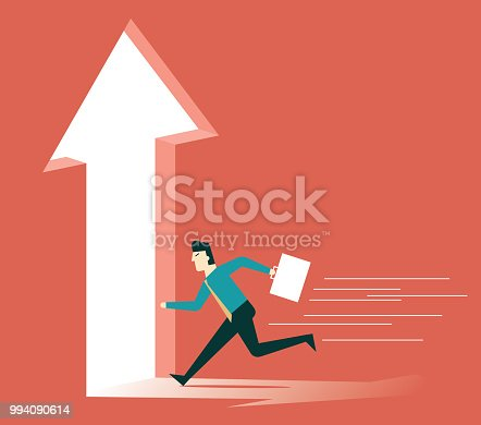 82186105 istock photo Businessman running towards arrow shape hole 994090614