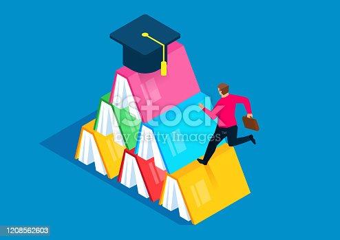 Businessman running towards graduation cap on top of books