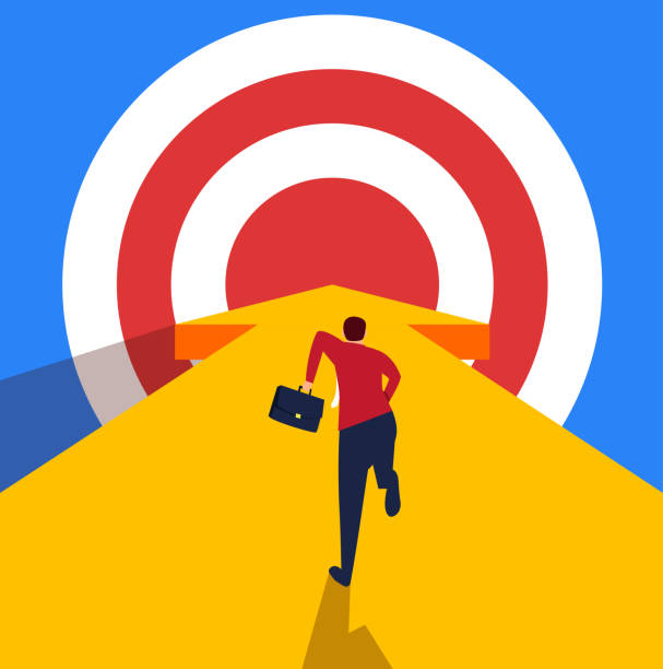 biznesmen biegnący w kierunku celu - aspiracje stock illustrations