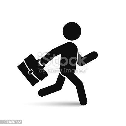 Businessman running with briefcase icon, vector isolated black man silhouette.