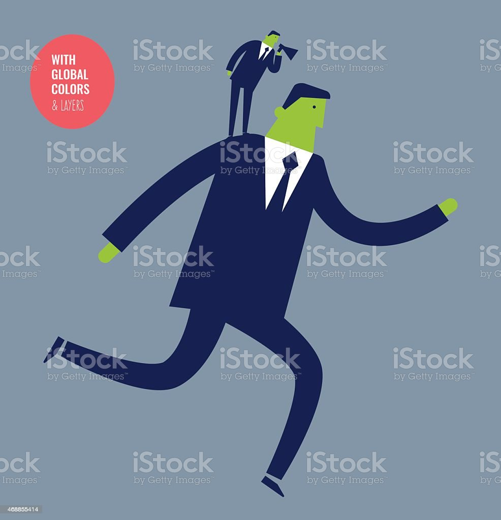 Businessman running with coach and megaphone. vector art illustration