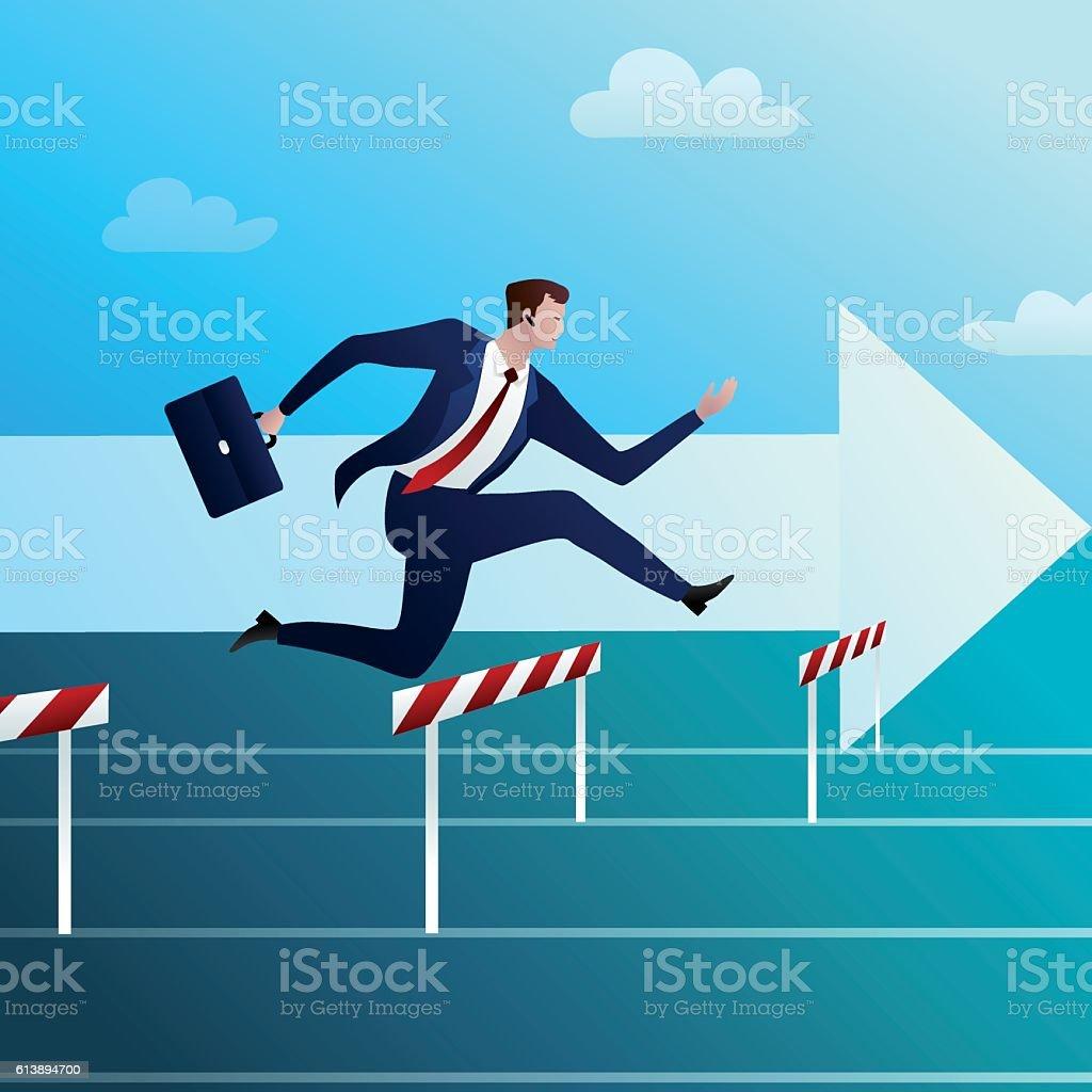 Businessman runs and overcomes obstacles векторная иллюстрация