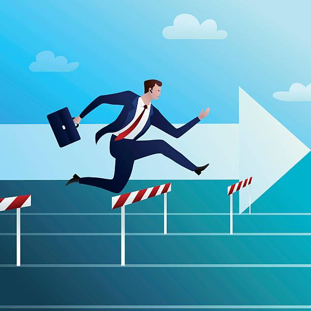 Bекторная иллюстрация Businessman runs and overcomes obstacles