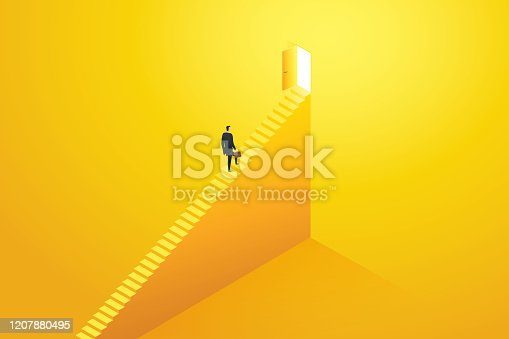 Businessman rushing up the stairs to the target goal at door and success. Business concept illustration Vector